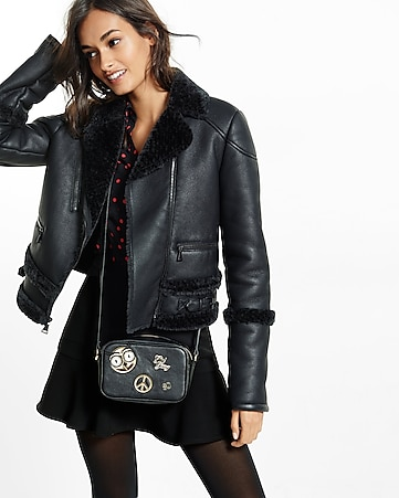 black faux shearling moto jacket