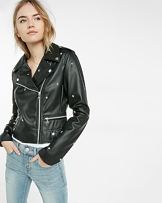 Express Womens (Minus The) Leather Star Studded Moto Jacket