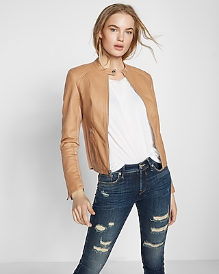 Express Womens Double Peplum (Minus The) Leather Jacket