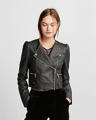 Express Womens Puff Sleeve Cropped (Minus The) Leather Jacket
