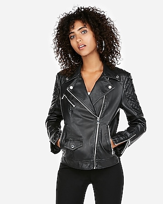 Express Womens Express Womens Who What Wear Pick (Minus The) Leather Quilted Moto Jack