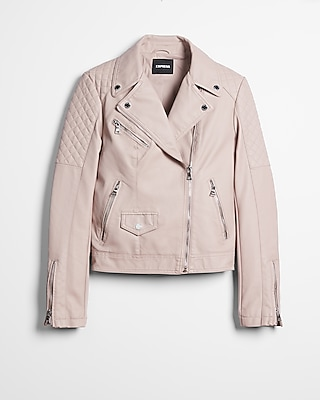 Express Womens (Minus The) Leather Quilted Moto Jacket Pink X Small