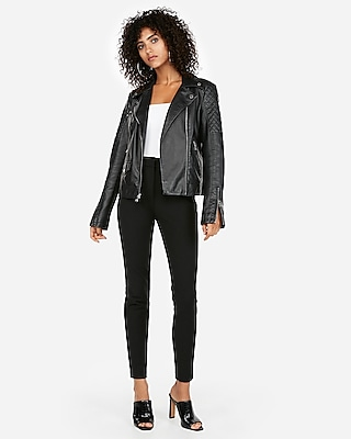 Express Womens Petite (Minus The) Leather Quilted Moto Jacket
