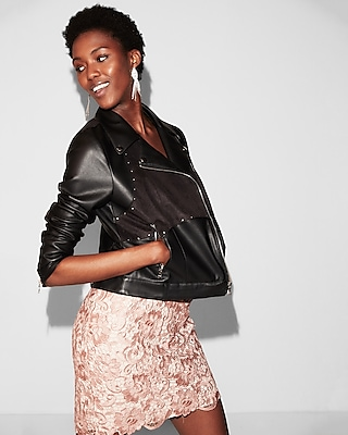 Express Womens Faux Suede Front Faux Leather Jacket
