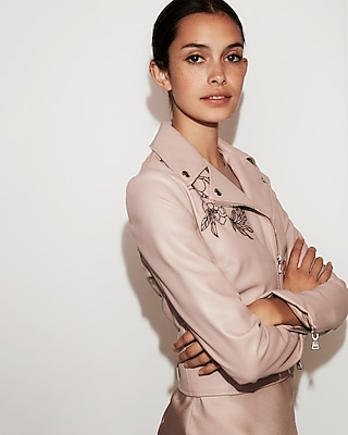 Express Womens Faux Leather Floral Embroidered Boxy Moto Jacket