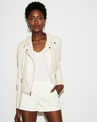 Express Womens Faux Leather Perforated Boxy Moto Jacket