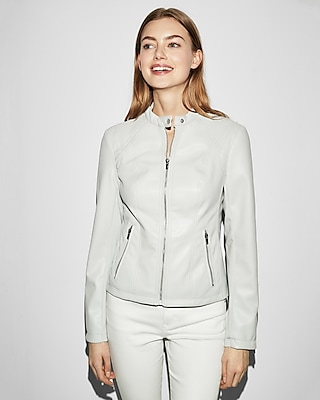 Express Womens Double Peplum Faux Leather Jacket