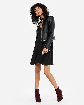 Express Womens Removable Zip Hem Faux Leather Jacket