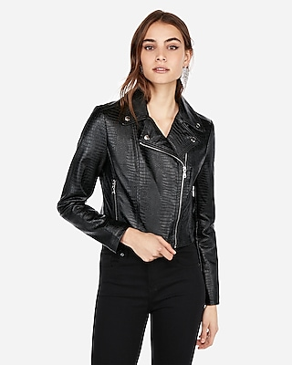 Express Womens Embossed Cropped Faux Leather Jacket
