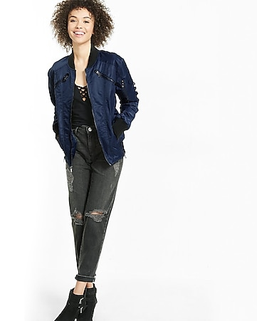 seamed vented hem bomber jacket