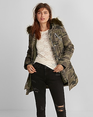 Express Womens Faux Fur Hooded Parka