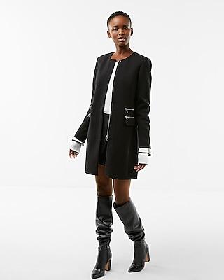 Express Womens Zip Detail Collarless Coat