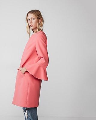 Express Womens Double Weave Flutter Sleeve Coat