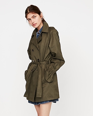 Express Womens Relaxed Flutter Sleeve Trench Coat