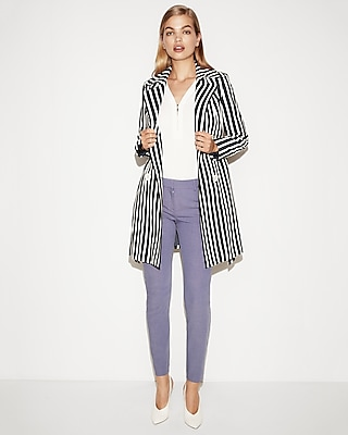 Express Womens Navy Striped Belted Trench Coat