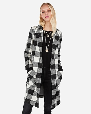 Express Womens Checker Print Notch Collar Open Coat Black And White Women's M Black And White M