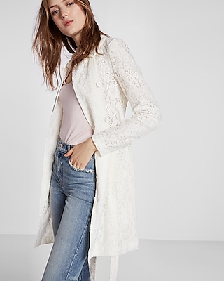Express Womens Floral Lace Trench Coat