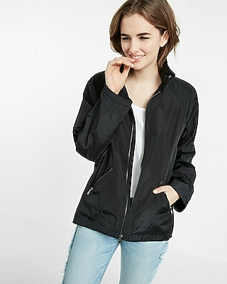 Mock Neck Long Convertible Sleeve Raincoat