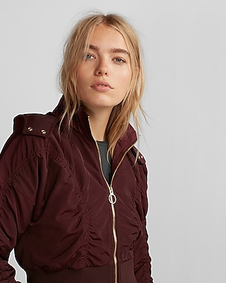 Express Womens Ruched Water-Resistant Cropped Jacket