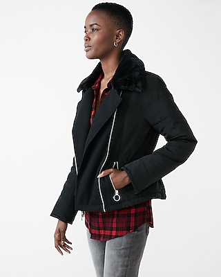 Express Womens Recycled Wool Short Puffer Coat