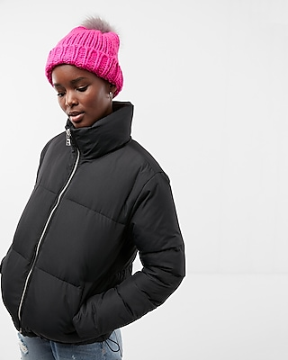 Express Womens Zip Front Short Puffer Coat