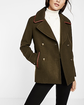 Express Womens Piped Peacoat Green X Small