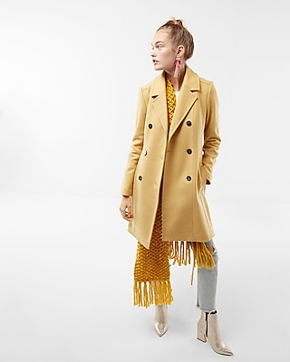 Express Womens Premium Wool Blend Belted Trench Coat Yellow XX Small