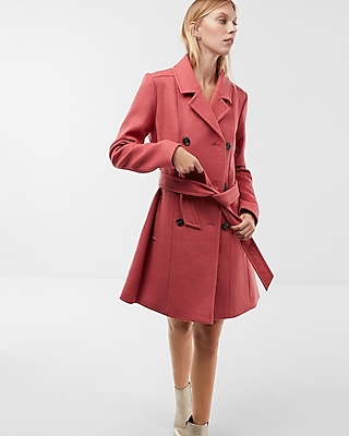 Express Womens Premium Wool Blend Belted Trench Coat Pink XX Small
