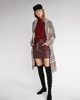 Express Womens Man Repeller Pick Textured Plaid Cocoon Coat
