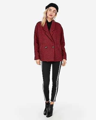 Express Womens Relaxed Wool-Blend Peacoat