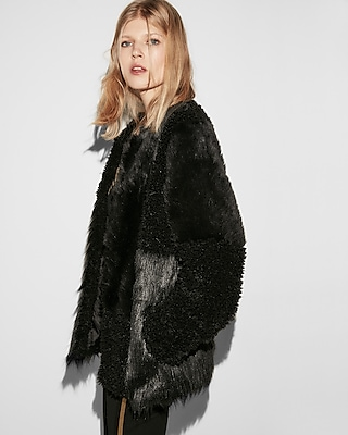 Express Womens Collarless Pieced Faux Fur Coat