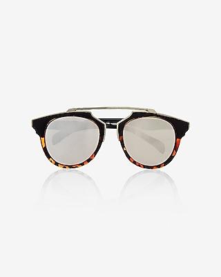 Express Womens Mirrored Retro Brow Bar Sunglasses
