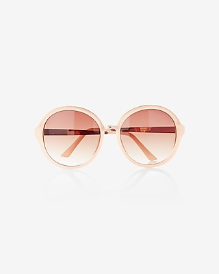 EXPRESS Women's Sunglasses Translucent Round Sunglasses With Metal Arms