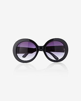 EXPRESS Women's Sunglasses Oversized Thick Round Sunglasses Black