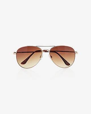 Express Womens Gold Aviator Sunglasses