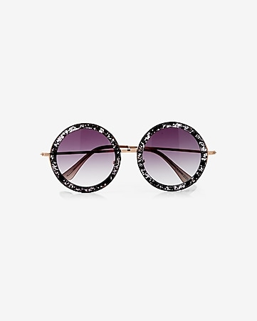 oversized round speckled sunglasses