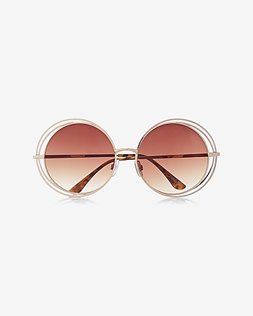 oversized round triple frame sunglasses