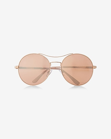 oversized mirrored round sunglasses