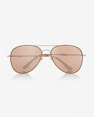 mirrored rose gold lens aviator sunglasses