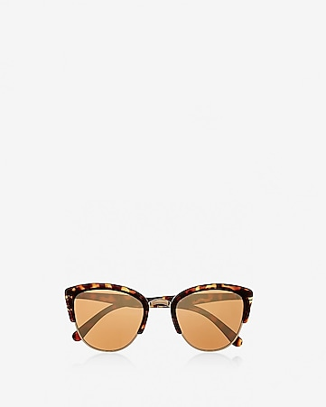 tortoise heavy brow cat eye sunglasses