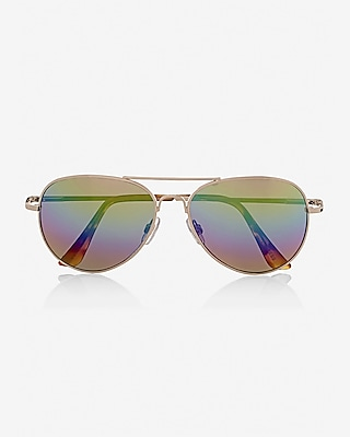 rainbow lens aviator sunglasses