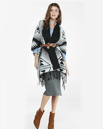southwestern fringe blanket cover up