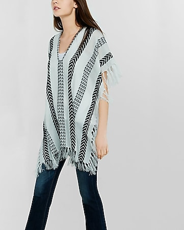 southwest stripe poncho