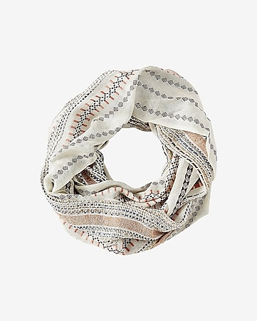 striped multicolored textured loop scarf