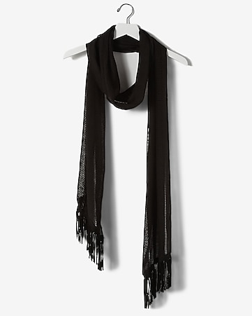 faux suede fringed skinny scarf