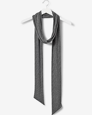 striped ribbed knit skinny scarf