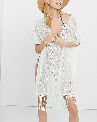 EXPRESS Women's Sweaters & Cardigans Ivory Crochet Poncho White