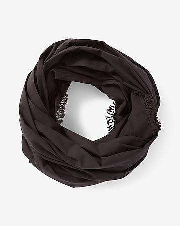 black twisted trim loop scarf