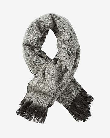 gray oversized fuzzy nep knit blanket scarf