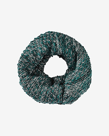 green marl knit twist loop scarf